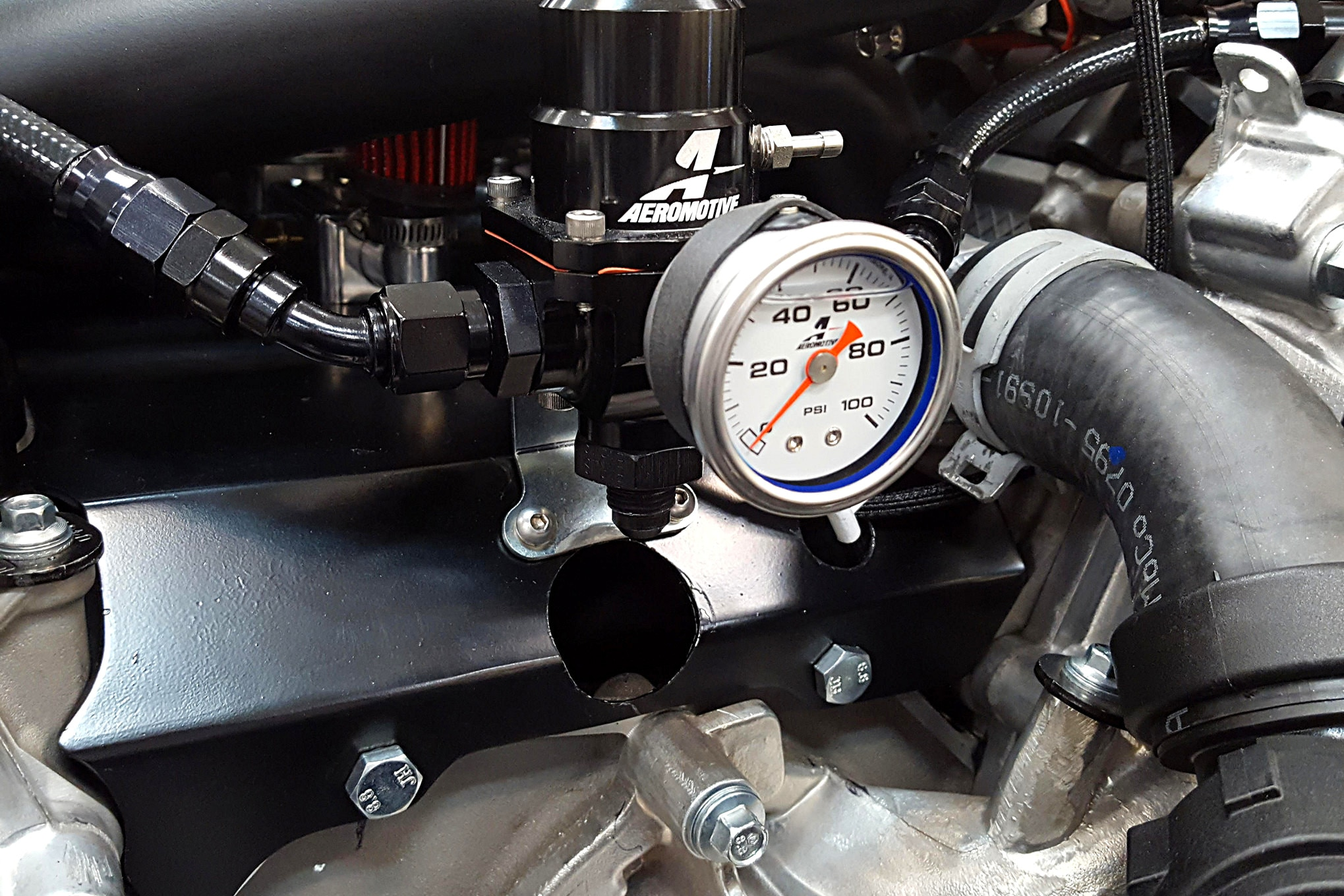 A critical fuel system component for EFI is the pressure regulator. HRBD installed an Aeromotive adjustable regulator to ensure fuel pressure stays constant.