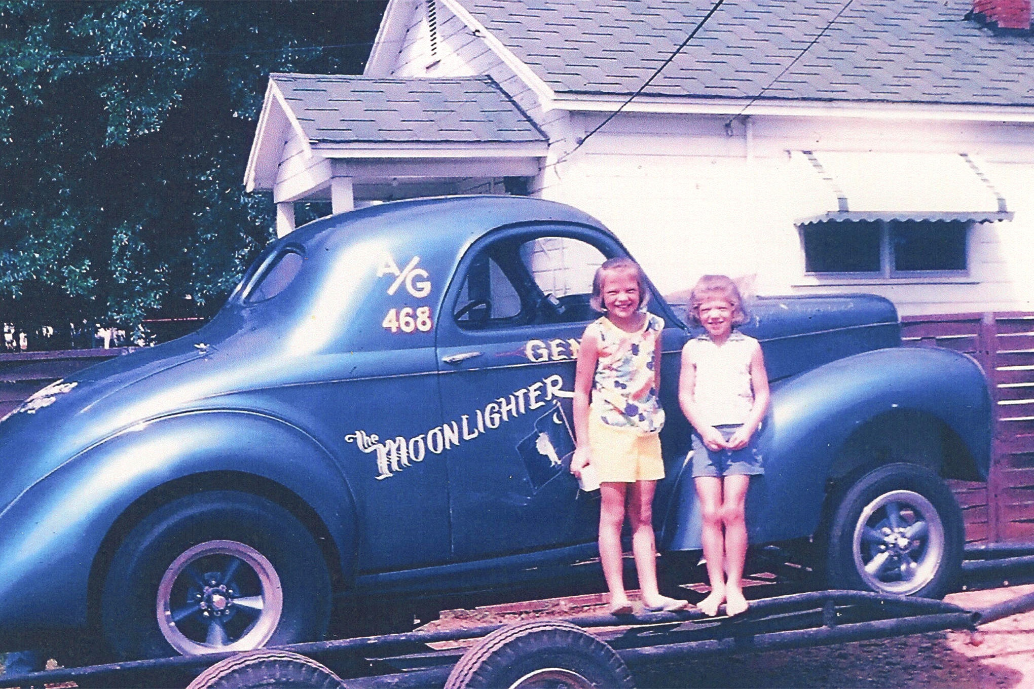 Gene and his wife Ruth traveled quite a bit in the 1960's, and they took their two daughters, Julie and Robin with them. These two drag racing kids have grown up since this 1965 photograph, but they still travel with their parents to many of the Southeast Gasser events.
