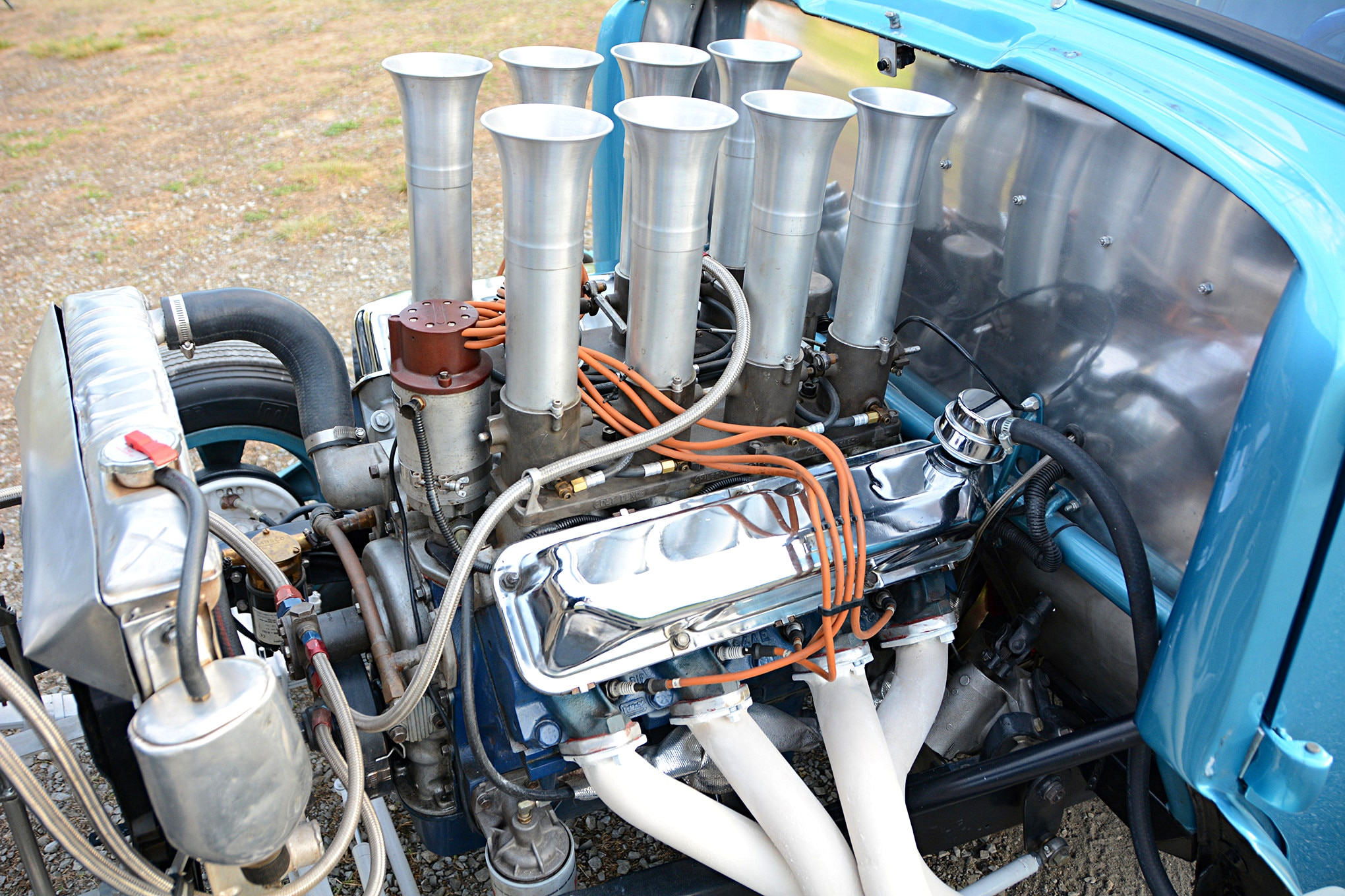 Even though Gene hadn't drag raced in decades, he still had a sizable stash of speed parts in his garage. The new Ford FE combination is a little different than his original 468ci stroker, but it makes plenty of steam and uses the same Hilborn injection that was on the car in 1965.