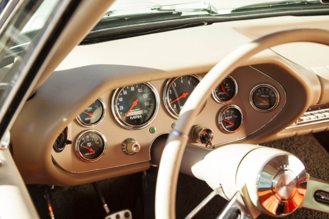 For function's sake, Petersen replaced the Stewart-Warner gauges for Auto Meter. Just Dashes reproduced the pad.
