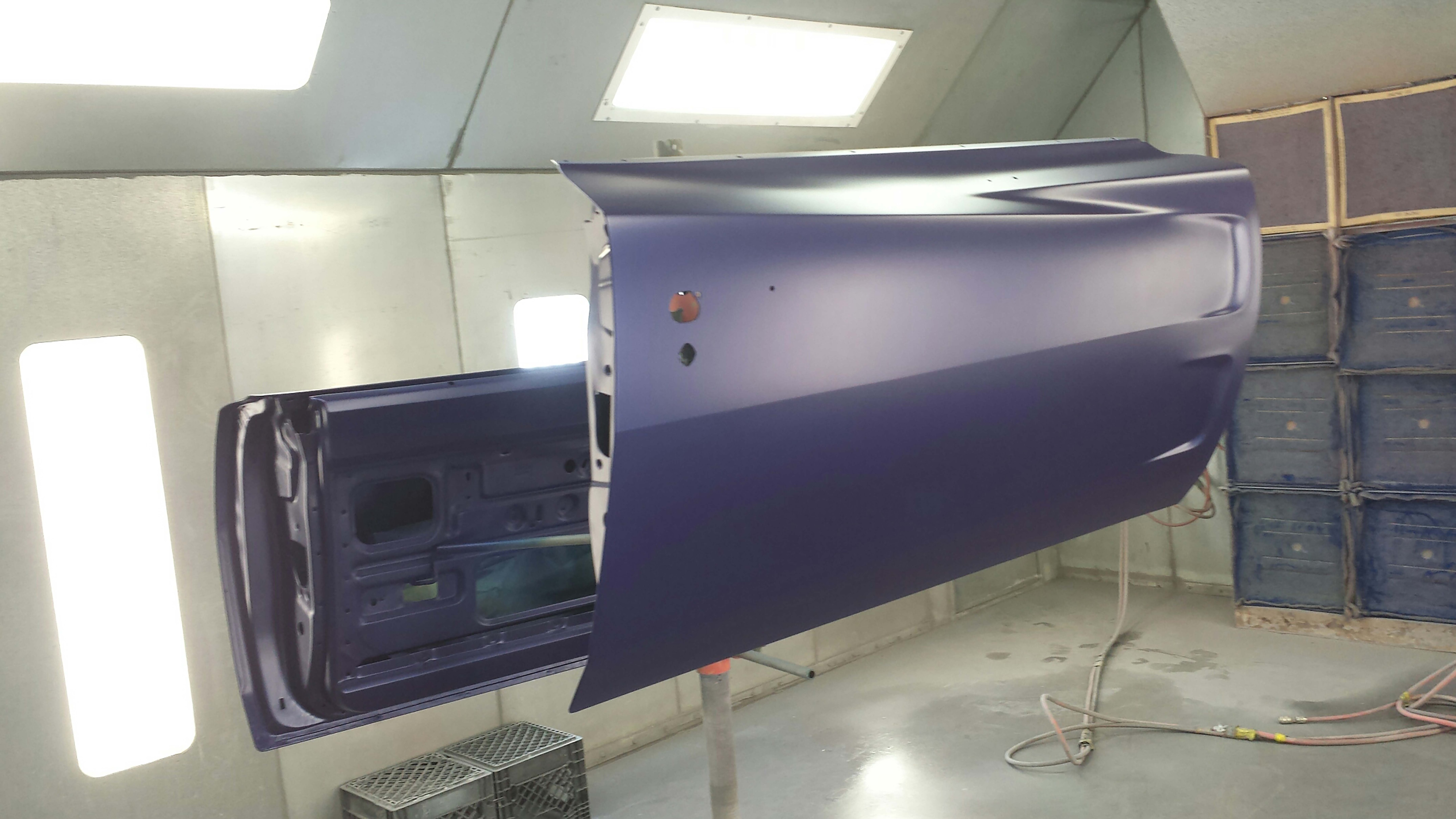 Prior to the clear coat, you can see that the doors look identical to the earlier picture of the whole body.