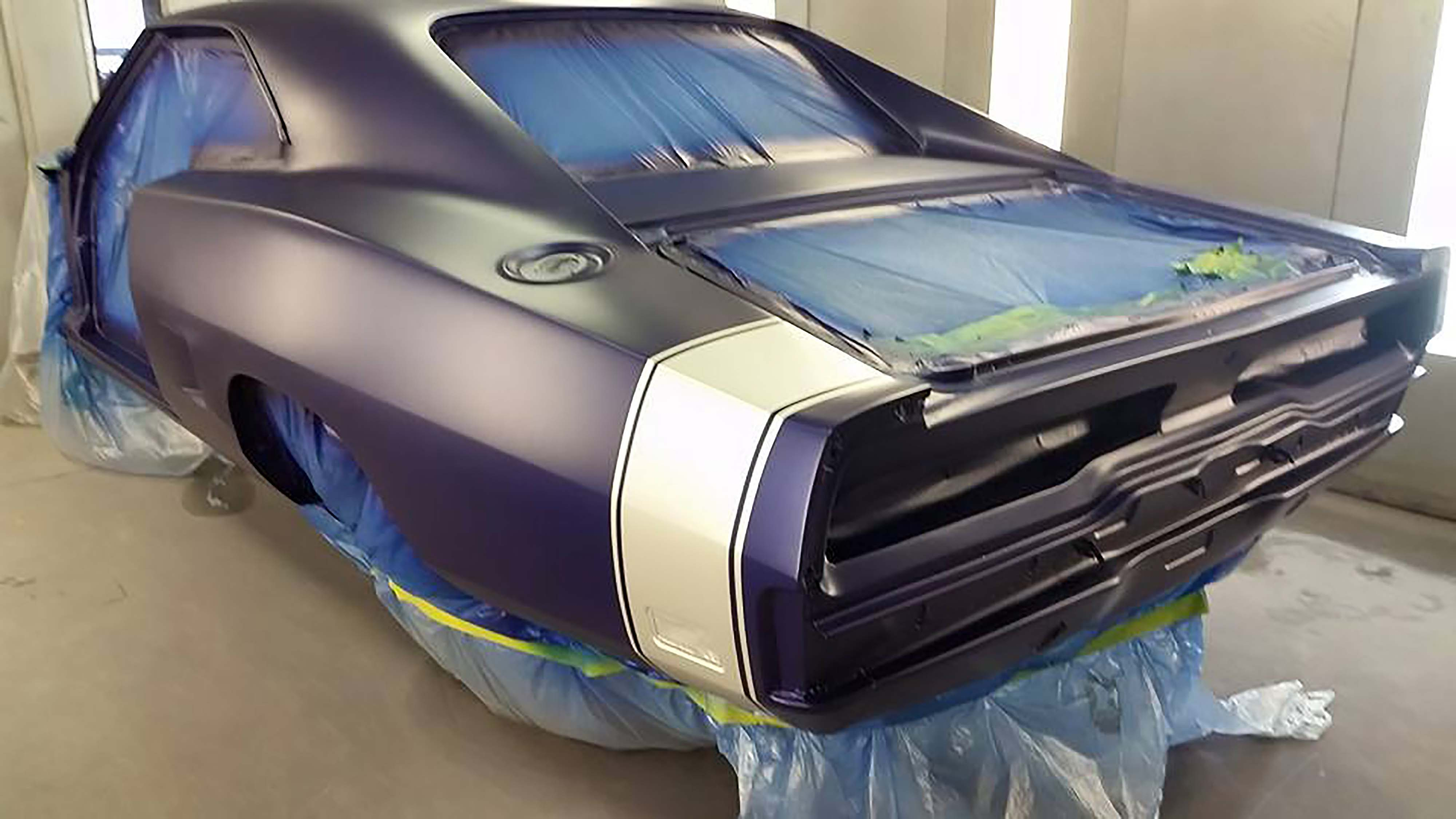 Before the clear coat is applied, the car has a matte finish to it, yet you can really see at this point the quality of the Axalta paint and the skill of the application.