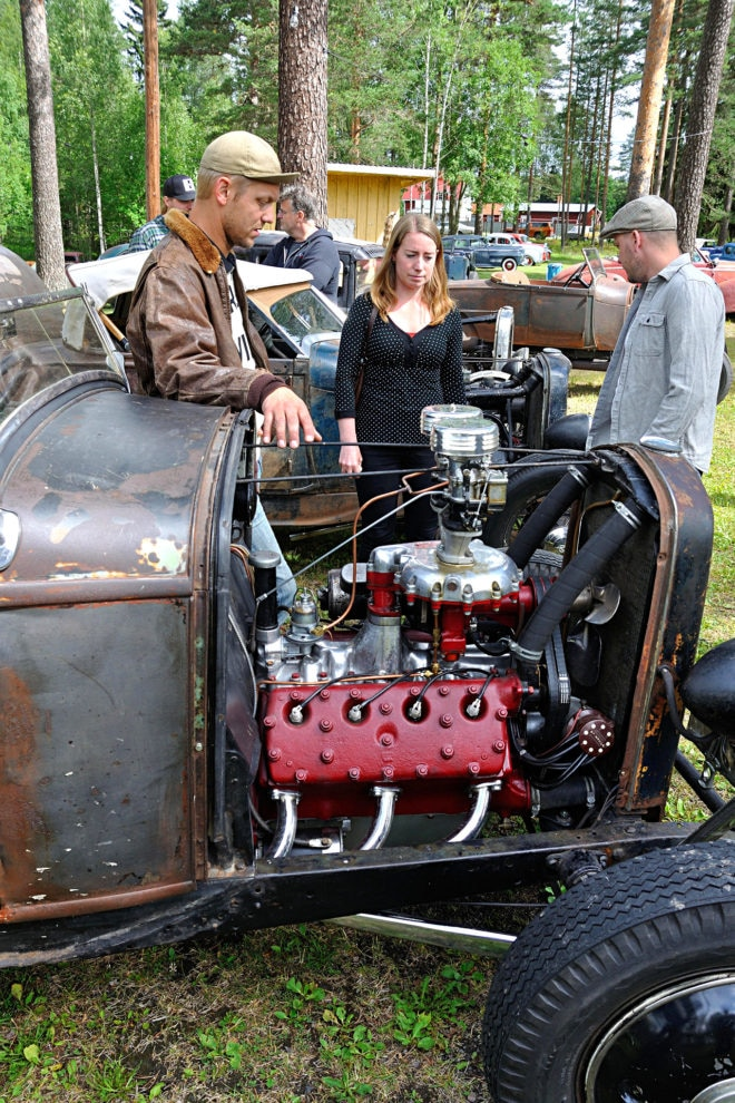 "Blown Roadster: Ronnie Lindblom of the Dusters had more than one '32 Ford at the event, but it was the roadster that people checked out most, with its hopped-up flathead that has a McCulloch blower plus two Strombergs on top. ""I still have the six-volt systems in my cars, too,"" Ronnie says."