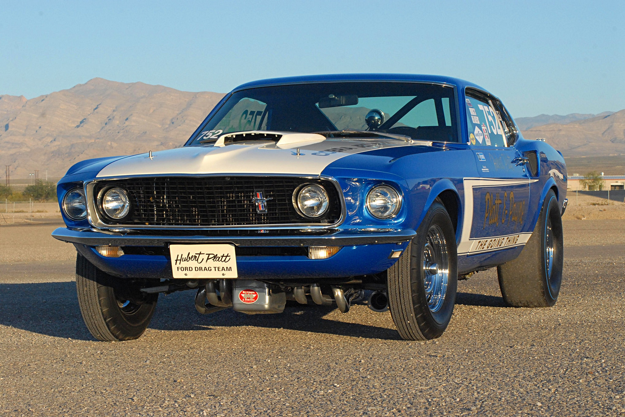 This is the view most of Hubert Platt's competitors saw of his 1969 Cobra Jet Mustang. With the exception of the thermal-coated headers, the CJ's restoration is spot-on.