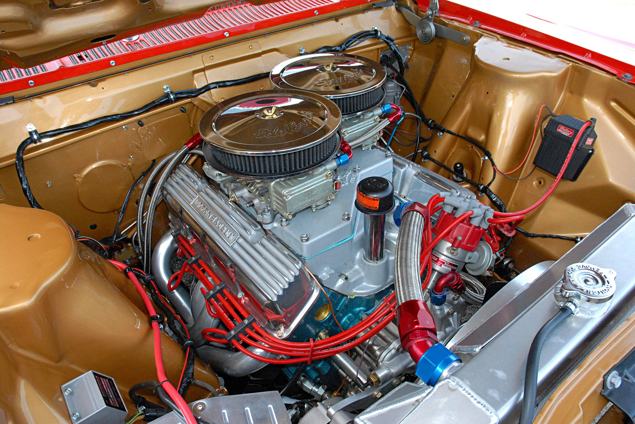 Powering the reincarnated Topel Rambler is a 600hp 390 Rambler V-8 stroked and poked by R&R Engines. It now measures 426 ci. Internals include a Crower cam and valvetrain, a stroked 390 AMC crank, a set of Crower connecting rods, and JE forged-aluminum pistons. The original Group 19 four-barrel intake and 650-cfm Holley carburetors are also along for the ride.