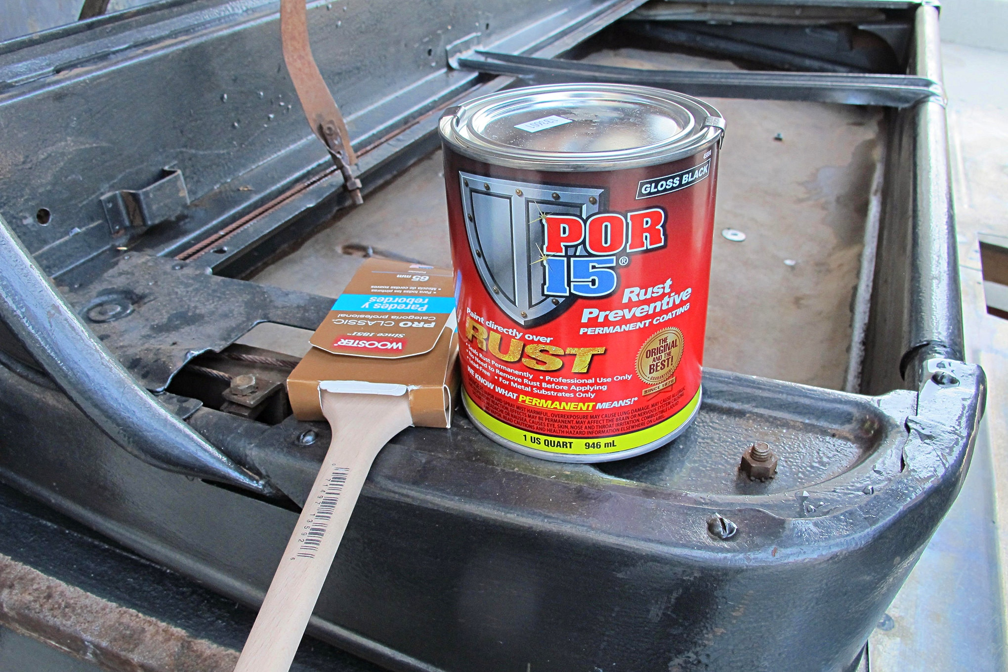 With the sheetmetal prepped it was coated with POR-15 Rust Preventative.