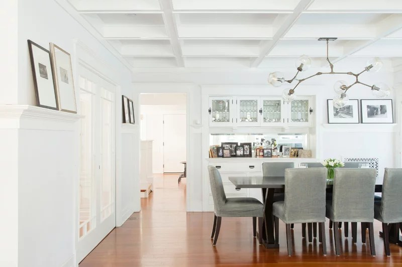 transitional dining room by Evens Architects