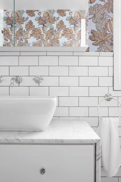 Transitional Bathroom by Stacey Kouros Design