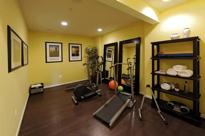 Home Gym Wall Color Brown modern home gym by laura manning bendik