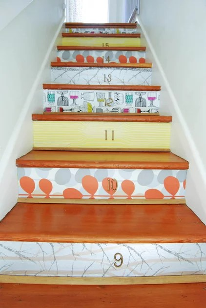 eclectic staircase by Megan Buchanan