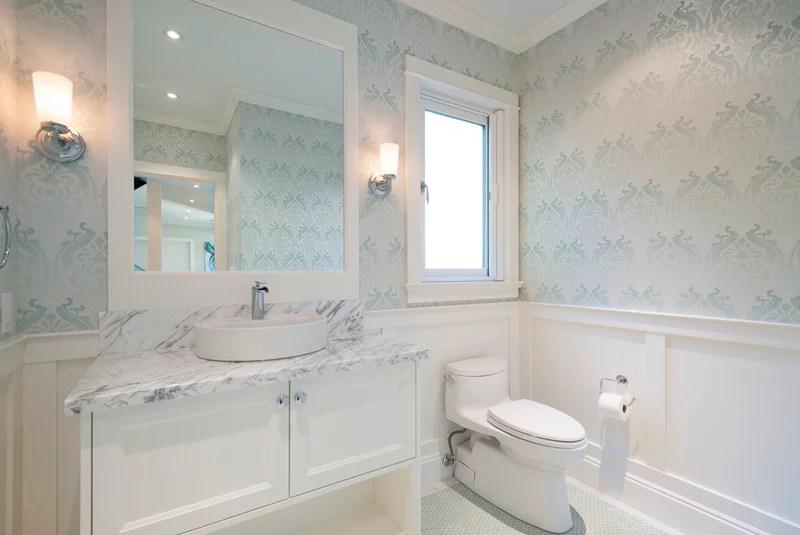 Transitional Powder Room by Sarah Gallop Design Inc.