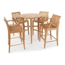 Westminster Teak Furniture Laguna 5pc Teak Bar Stool And