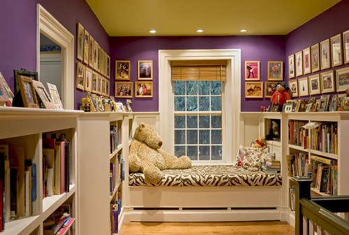 Window seat/reading nook at end of stair hallway traditional hall