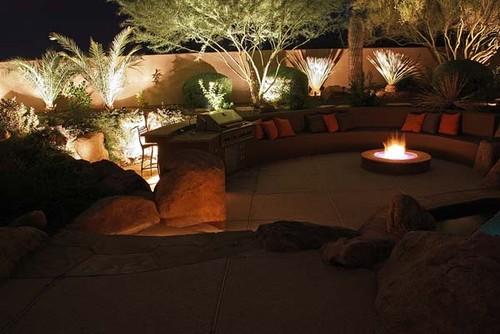 night lighting contemporary exterior