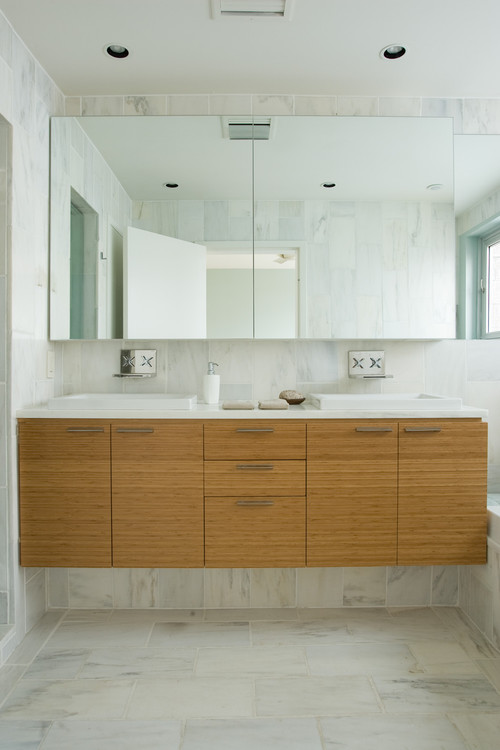 custom marble tile, bamboo cabinetry contemporary bathroom