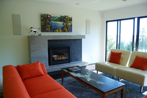 custom fireplace contemporary family room