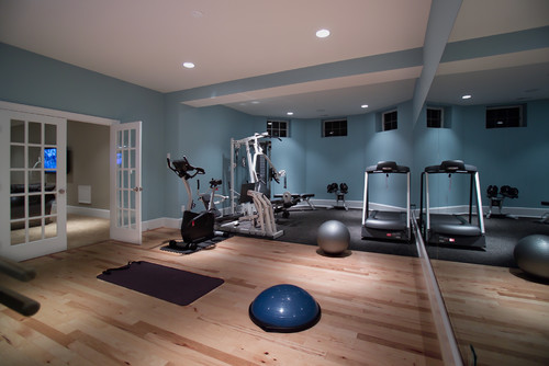 blue with pale pink oak flooring