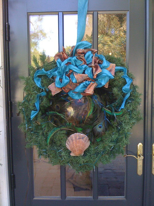 South Florida style christmas tropical entry