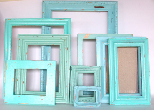 9 Beach Themed Picture Frames in Robins Egg Blue by Dirt Road Decor contemporary frames