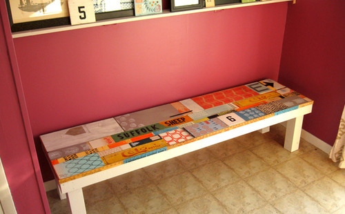 Reclaimed Wood Bench eclectic entry