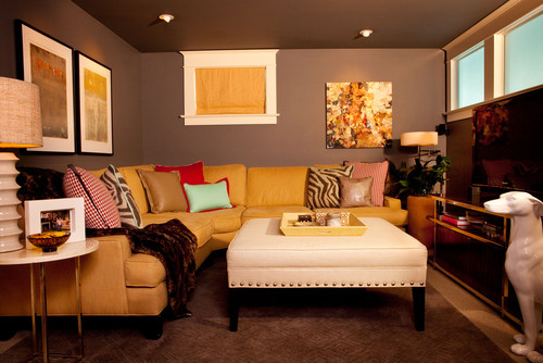 Basement Den eclectic family room