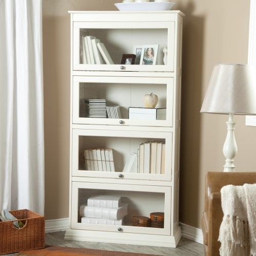 Finley Home Bradshaw 4 Tier Barrister Bookcase - Creamy White modern bookcases cabinets and computer armoires