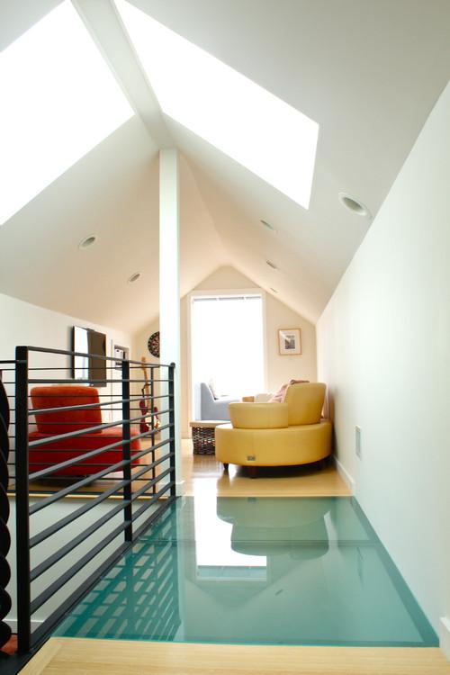 Upstairs contemporary media room