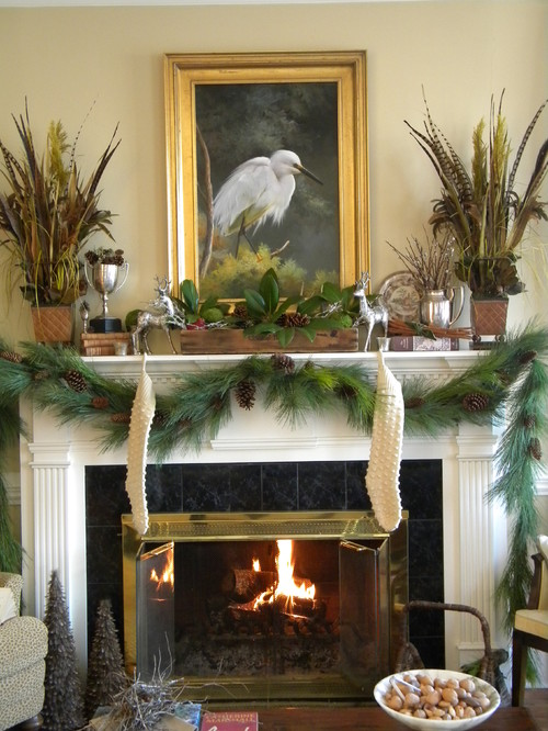 A Woodland Mantel  (http://threepixielane.blogspot.com) traditional living room