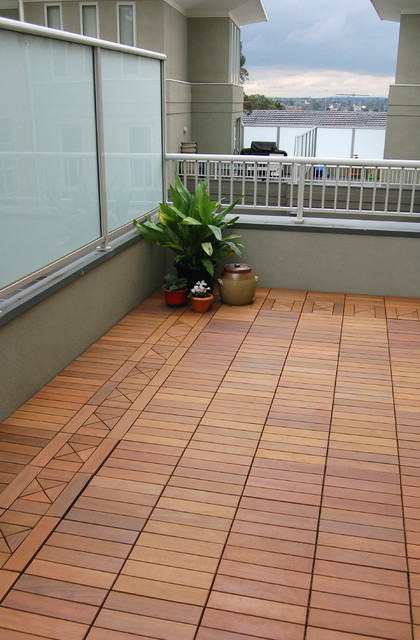 Ipe Wood Deck Tiles On A Small Condo Balcony