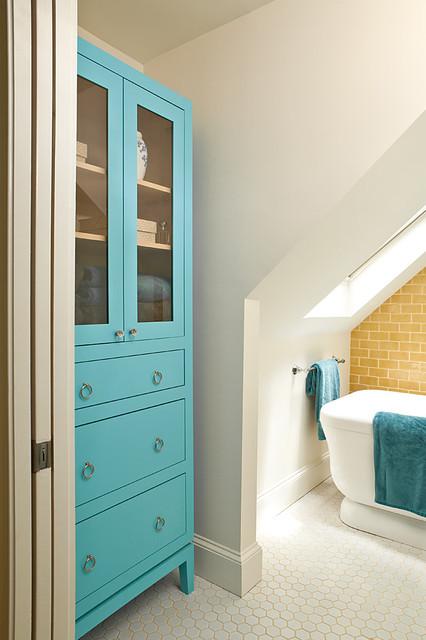 Yellow and Turquoise Bathroom eclectic bathroom