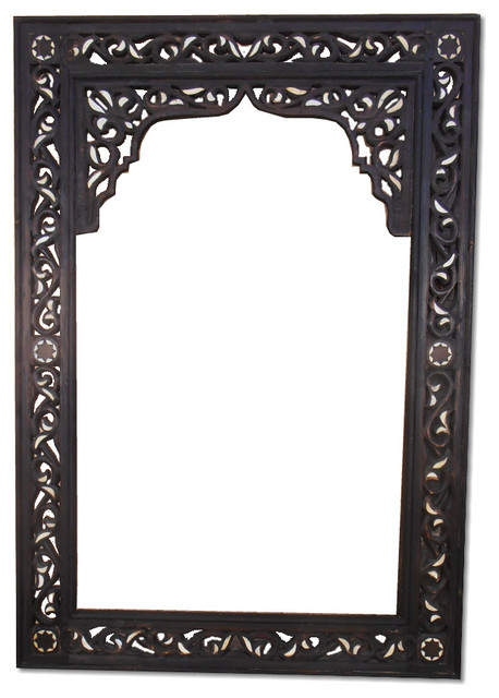 Moroccan Wooden And Bone Handmade Frame With Mirror Or