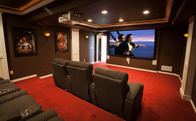 ElkStone Theater In A Finished Basement Contemporary