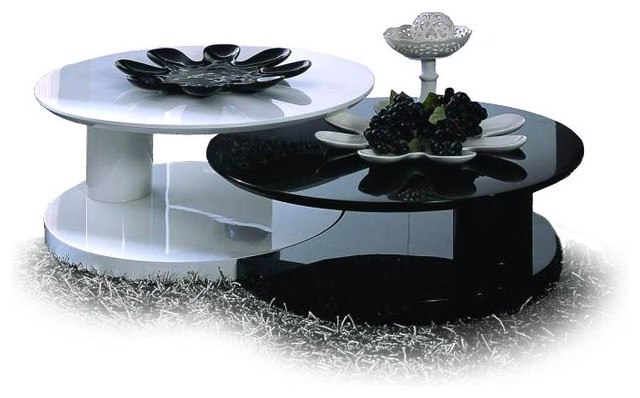 MODERN GLOSSY BLACK AND WHITE NESTING COFFEE TABLE OSAKI