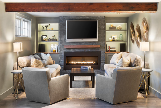 traditional media room by Pinney Designs
