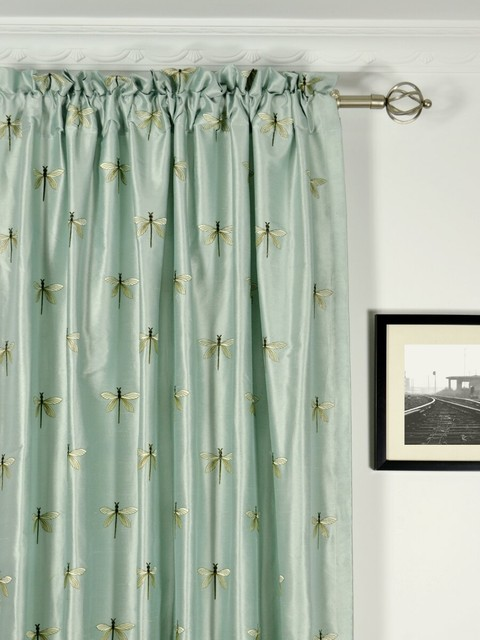 Light Blue Embroidered Animal Rod Pocket Dupioni Silk Curtains Contemporary Entry Denver