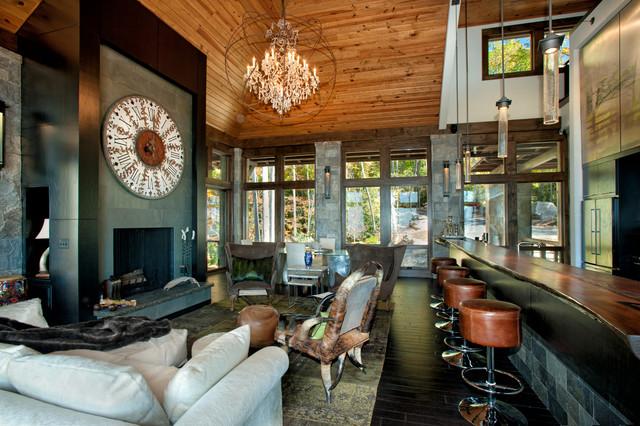 Modern Mountain Home Rustic Living Room Charlotte