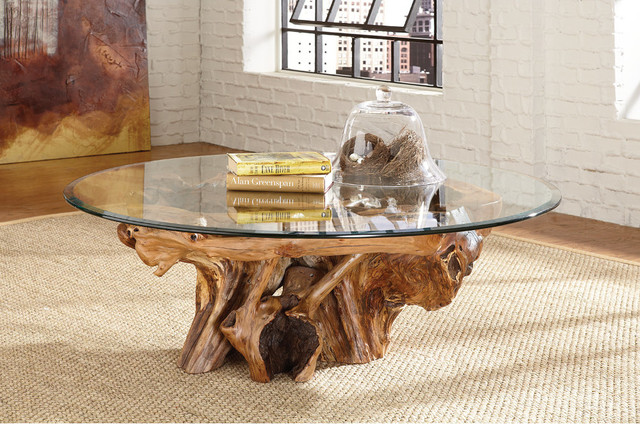 Tree Root Glass Top Coffee Table