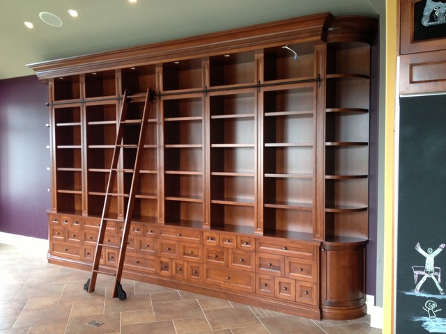 Large Custom Bookcase With Rolling Ladder Traditional