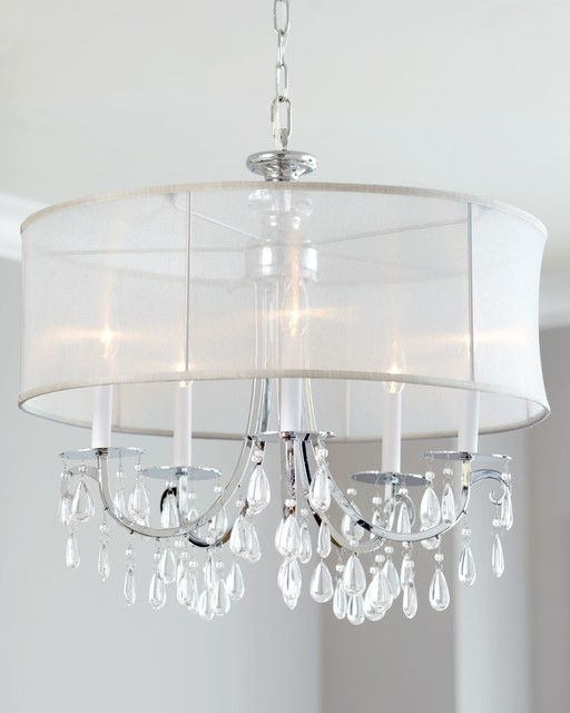 Chrome White Shade 3 Light Pendant Chandelier
