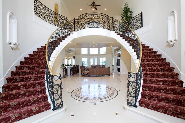 Grand Mediterranean Estate Mediterranean Staircase