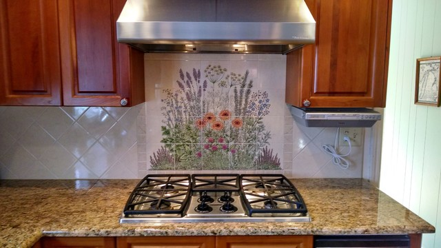 """Flowering Herb Garden"" Decorative Kitchen Backsplash Tile"
