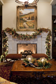 a garland atop a sophisticated and timeless mantel