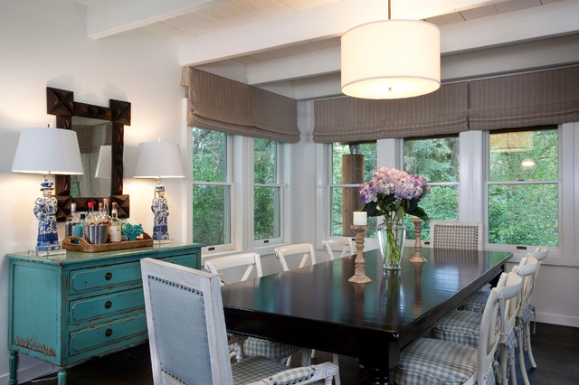 Nantucket meets Mountain eclectic dining room