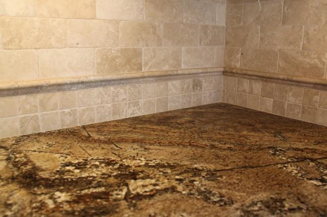 Tumbled Travertine Backsplash With Granite