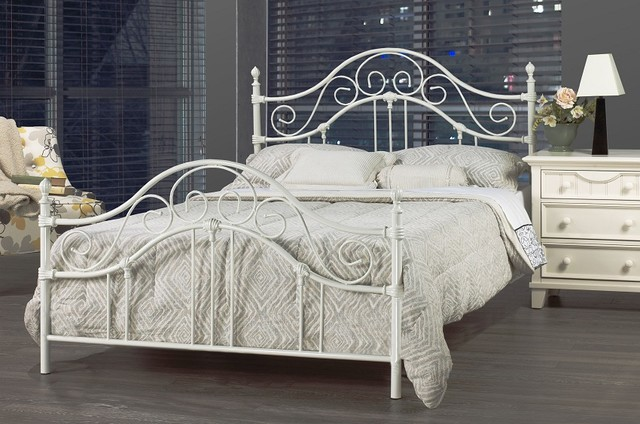 Bella White Wrought Iron Queen Bed Frame