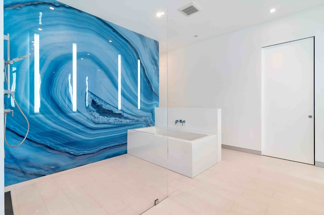 Blue Agate Bathroom Wall Modern Miami By ALEX TURCO