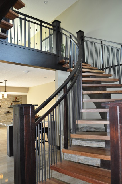 Curved Wood Center Stringer Contemporary Staircase