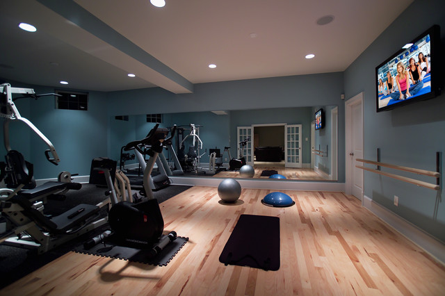 Home Basement Gymnasium and Dance Studio modern home gym