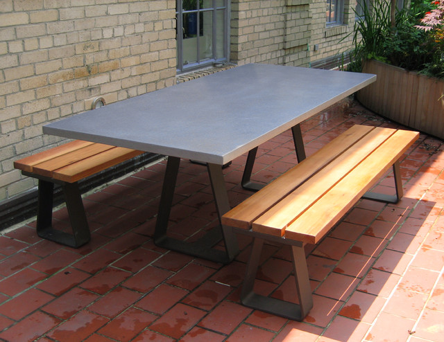 Custom Contemporary Outdoor Table With Custom Steel Base