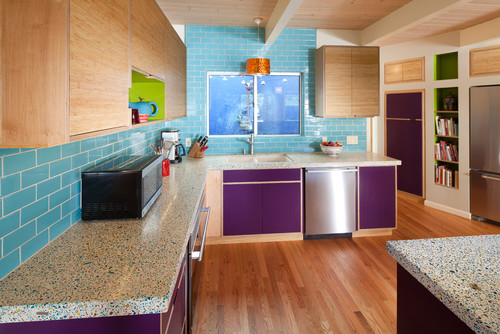Kitchen remodel featuring purple cabinetry